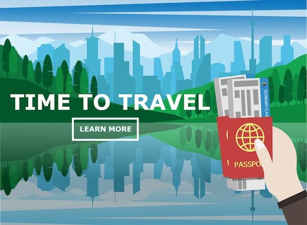 Hand met paspoort en vliegticket Premium Vector
