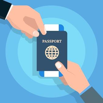 Hand met paspoort. reizen en toerisme en persoonlijke identificatie concept. vector illustratie.