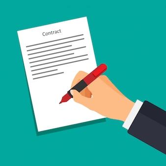 Hand met pen op papier schrijft. zakenman ondertekent document. contract met een handtekening.