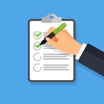 Hand met pen schrijven op een checklist. zakenman ondertekent document. de hand houdt een pen en klembord vast. om lijstconcept te doen
