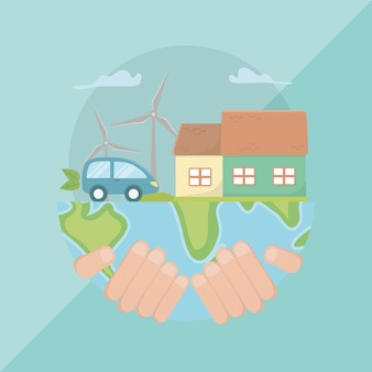 Hand met planeet en energieontwerp opslaan