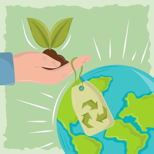Hand met plantenwereld
