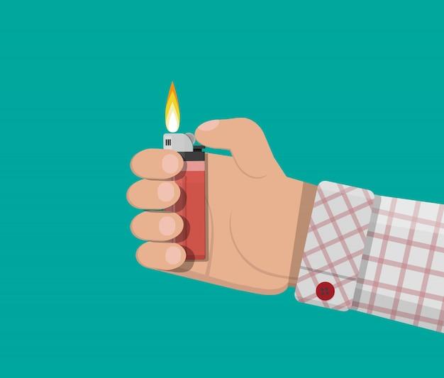 Hand met plastic aansteker