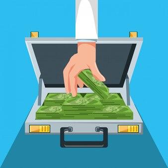 Hand met portefeuille en rekeningendollars