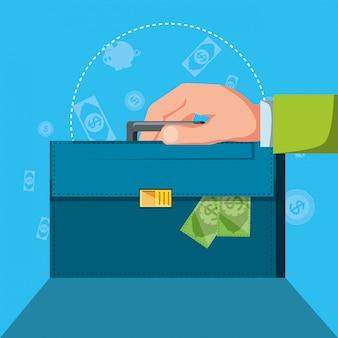 Hand met portefeuille en set pictogrammen economie financiën