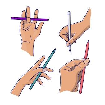 Hand met potlood vector
