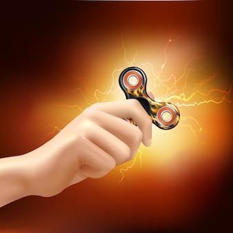 Hand met realistische spinner