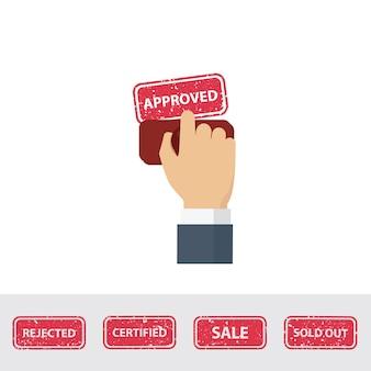 Hand met rubberstempel. notaris stempelen goedgekeurd woord op een papier