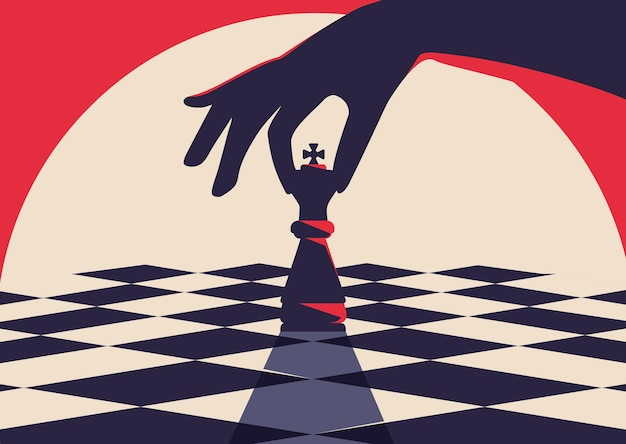 Hand met schaakstuk illustratie