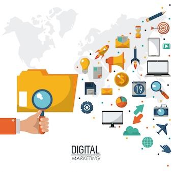 Hand met search digitale marketing strategie media