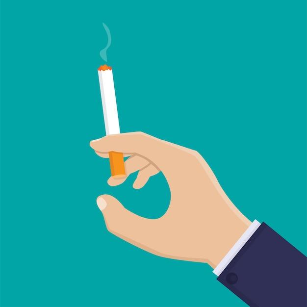 Hand met sigaret platte ontwerp illustratie