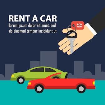Hand met sleutels en auto's in de weg huur een autoillustratie