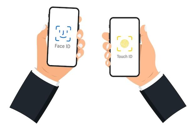 Hand met slimme telefoon met leeg scherm op witte achtergrond. mobiele telefoon. zwarte smartphones met leeg scherm. platte stijl. set application template-illustratie van een smartphone met wit scherm Premium Vector