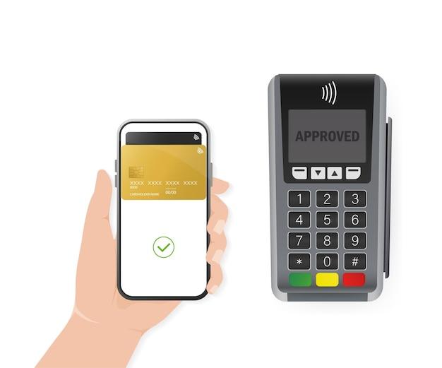 Hand met smartphone. abstracte online betaling voor mobiel apparaatontwerp. online transactie.