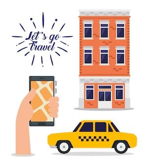 Hand met smartphone-adres en gebouw om te reizen