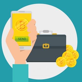 Hand met smartphone bitcoin valuta en koffer
