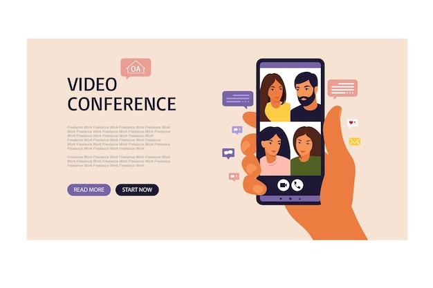 Hand met smartphone chatten met vrienden tijdens videogesprek. bestemmingspagina. videoconferentie met collega's, discussie op afstand. vector illustratie. vlakke stijl.