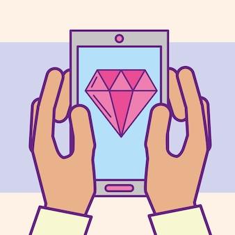 Hand met smartphone diamant app casino cartoon