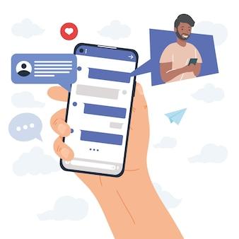 Hand met smartphone en chatten