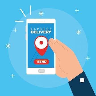 Hand met smartphone met app express levering