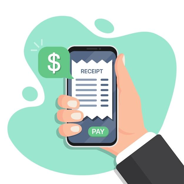 Hand met smartphone met bon in een plat ontwerp. smartphone betaling voor ontvangsten. online betaling