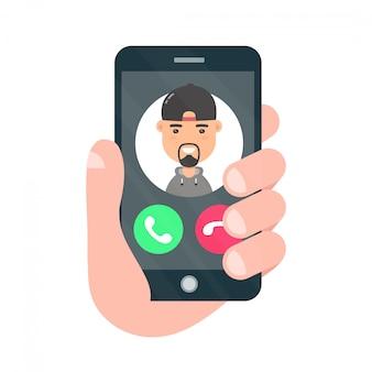 Hand met smartphone met een inkomende oproep