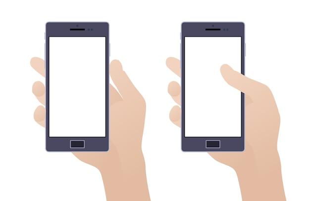 Hand met smartphone met leeg scherm tegen de witte achtergrond