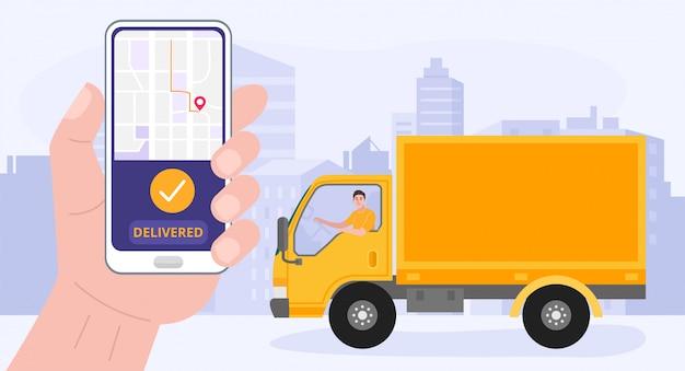 Hand met smartphone met levering app. een man die een bestelwagen bestuurt.