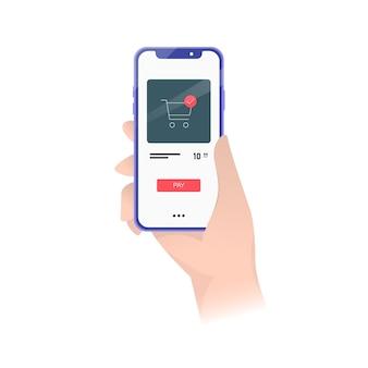 Hand met smartphone met mandje. illustratie. betaling in de online winkel. online winkel. online aankoop bezorgservice concept. voorraad.