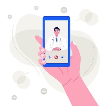 Hand met smartphone met mannelijke arts op scherm