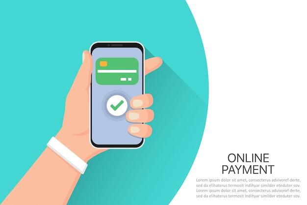 Hand met smartphone met online betalingssysteem in een plat ontwerp