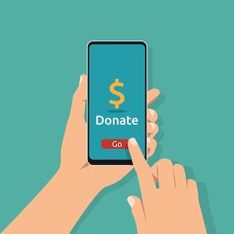 Hand met smartphone met online donatiesymbool op scherm. liefdadigheid en goede daad