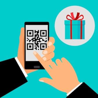 Hand met smartphone met qr-code