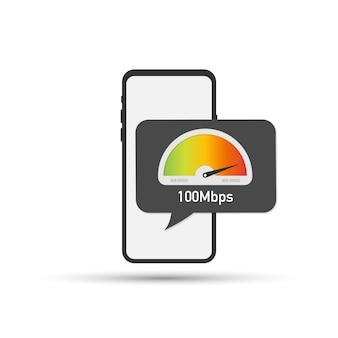 Hand met smartphone met snelheidstest op het scherm. vector illustratie