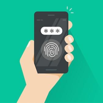 Hand met smartphone ontgrendeld met vingerafdruk- en wachtwoordveld