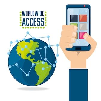 Hand met smartphone verbonden internet over de hele wereld