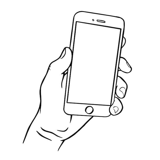 Hand met smartphone.