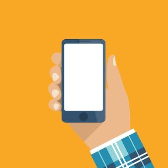 Hand met smartphone