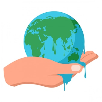 Hand met smeltende aarde