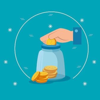 Hand met spaarpot en munten geïsoleerde pictogram