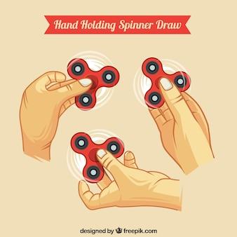Hand met spinners collectie