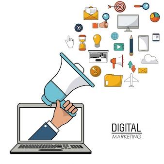 Hand met spreker digitale marketing laptop online technologie web promotie