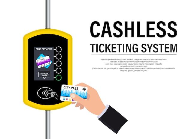 Hand met stadspas betaalt de ritprijs. terminal voor passagiersvervoerkaart. draadloos, contactloos of giraal betalen, rfid nfc. kaarten zonder contant geld. online betalingssysteem in het openbaar vervoer