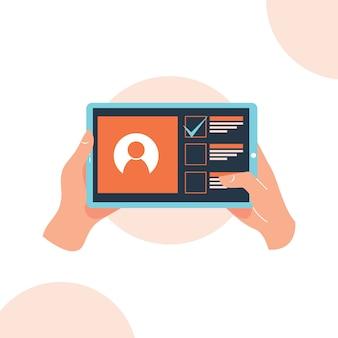 Hand met tablet app op het scherm platte ontwerp stijl illustratie