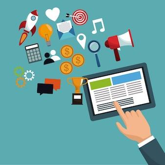 Hand met tablet digitale marketing pictogrammen