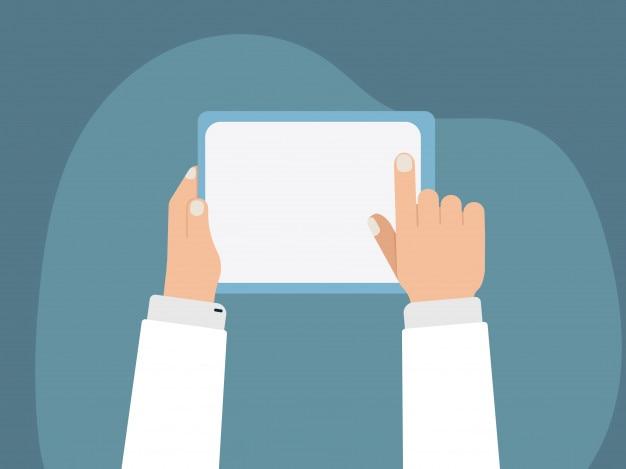 Hand met tablet