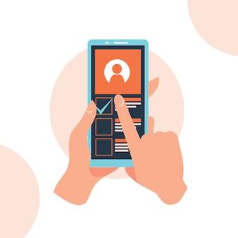 Hand met telefoon app op het scherm platte ontwerp stijl illustratie