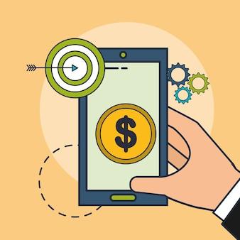 Hand met telefoon geld doel vectorillustratie