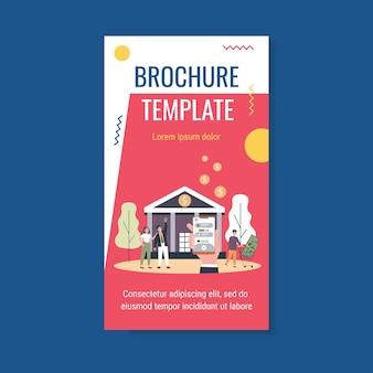 Hand met telefoon met app-brochuremalplaatje