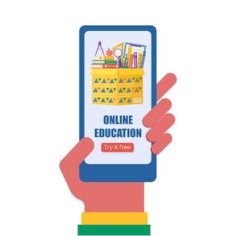 Hand met telefoon met app voor online onderwijsconcept. boeken en globe voor terug naar school promo. vectorsjabloon voor banner, uitnodiging, bestemmingspagina. vecror.